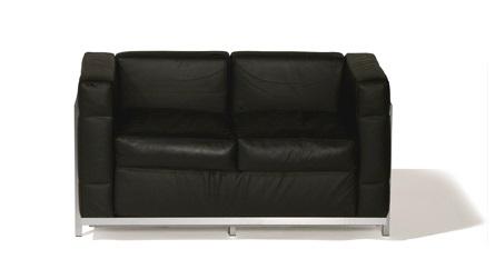 Lounge 2er Sofa Leder Schwarz